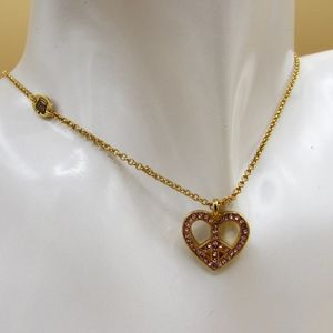 Juicy Couture Heart Peace Sign Crystal Necklace
